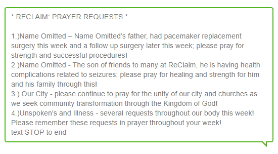 SMS Prayer Request