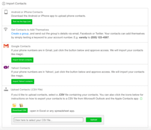 Importing contacts into SendHub's contact database